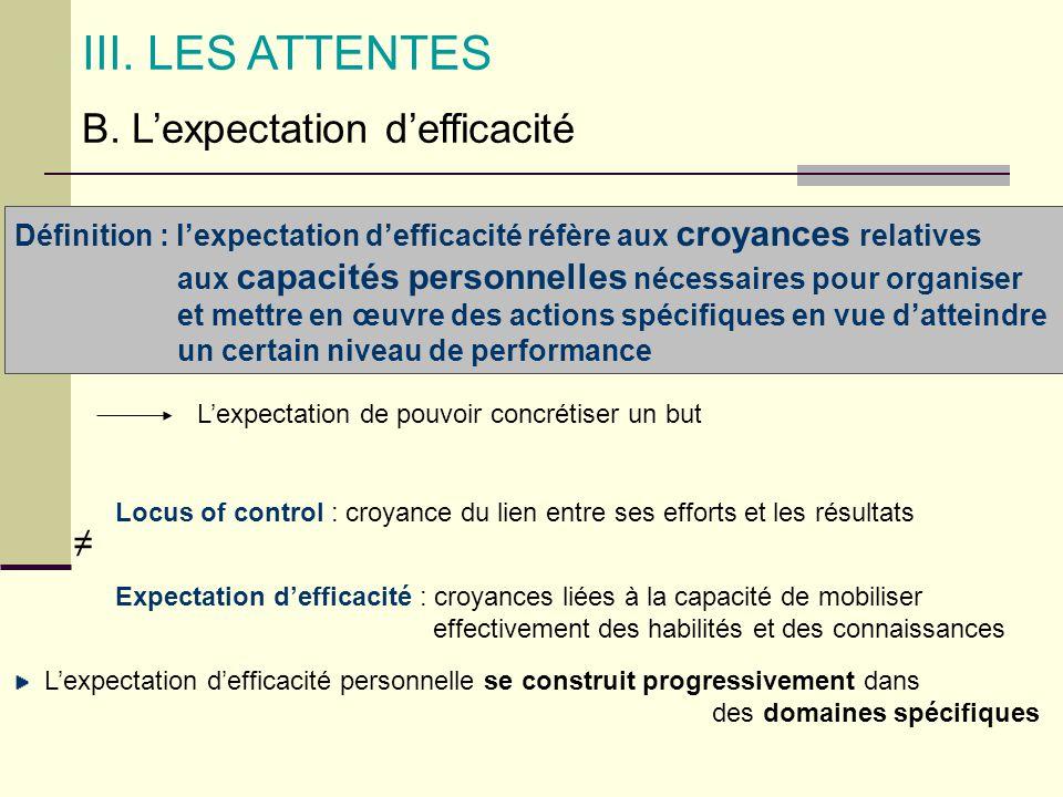 B. Lexpectation defficacité III. LES ATTENTES Définition : lexpectation defficacité réfère aux croyances relatives aux capacités personnelles nécessai