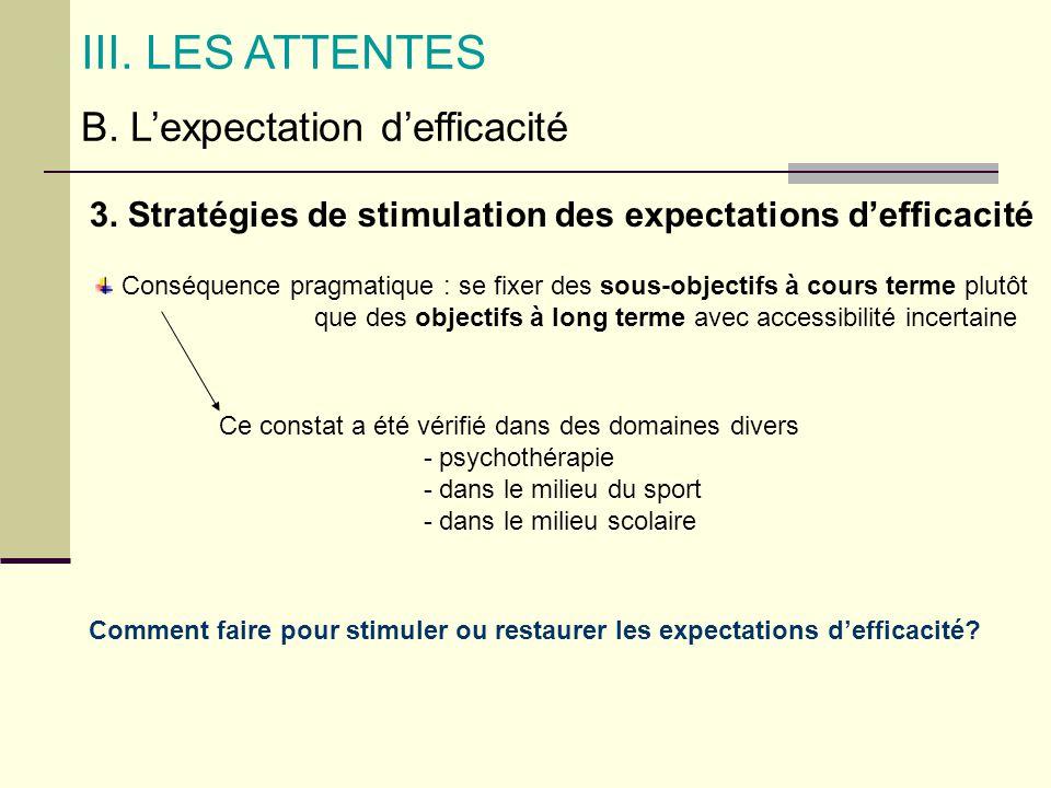 B. Lexpectation defficacité III. LES ATTENTES 3. Stratégies de stimulation des expectations defficacité Conséquence pragmatique : se fixer des sous-ob