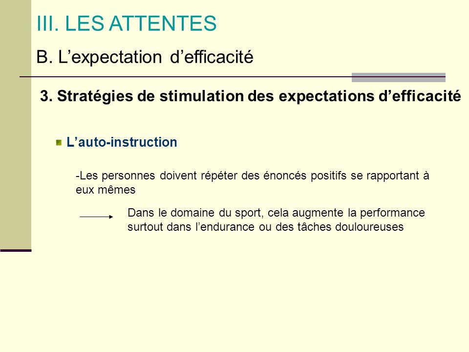 B. Lexpectation defficacité III. LES ATTENTES 3. Stratégies de stimulation des expectations defficacité Lauto-instruction -Les personnes doivent répét