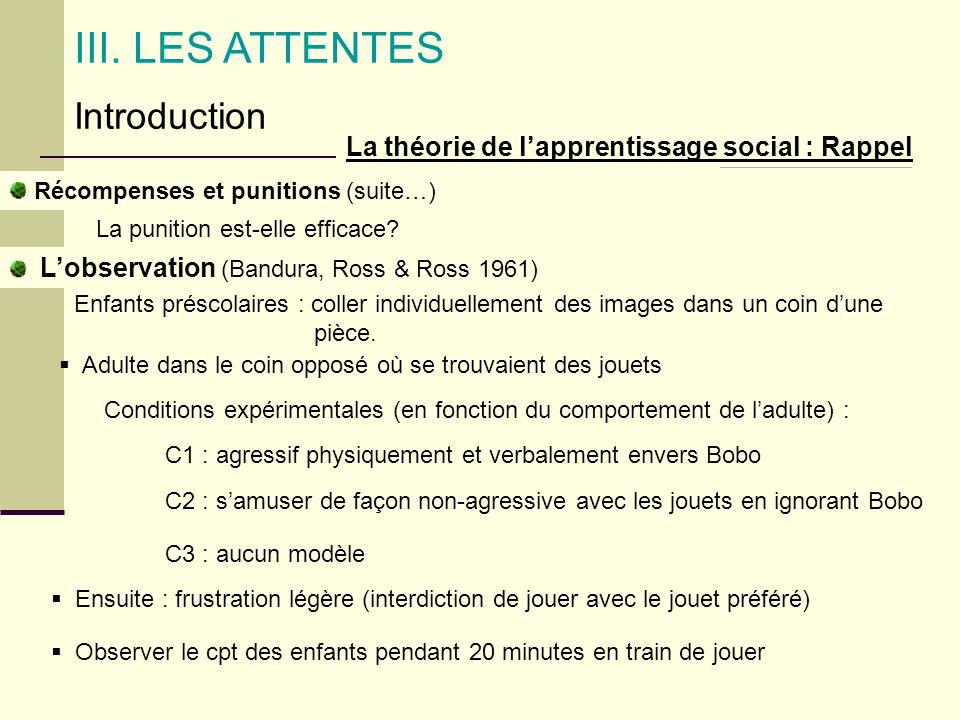 La théorie de lapprentissage social : Rappel Lobservation (Bandura, Ross & Ross 1961) III. LES ATTENTES Introduction La punition est-elle efficace? En