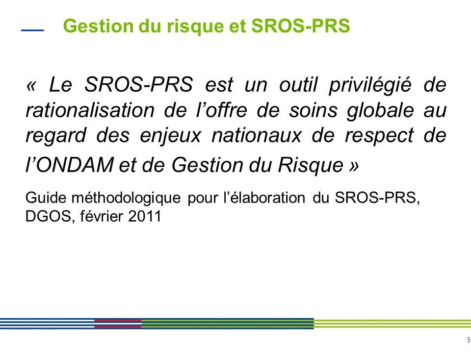 5 Gestion du risque et SROS-PRS « Le SROS-PRS est un outil privilégié de rationalisation de loffre de soins globale au regard des enjeux nationaux de