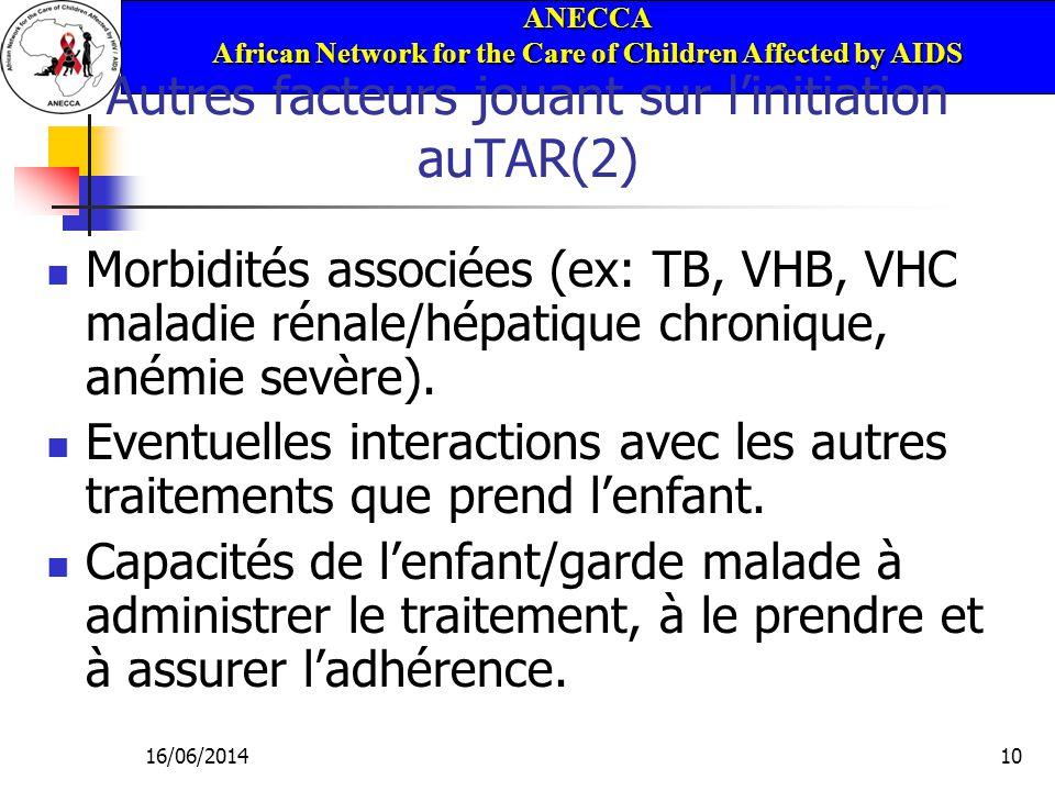 ANECCA African Network for the Care of Children Affected by AIDS 16/06/201410 Autres facteurs jouant sur linitiation auTAR(2) Morbidités associées (ex