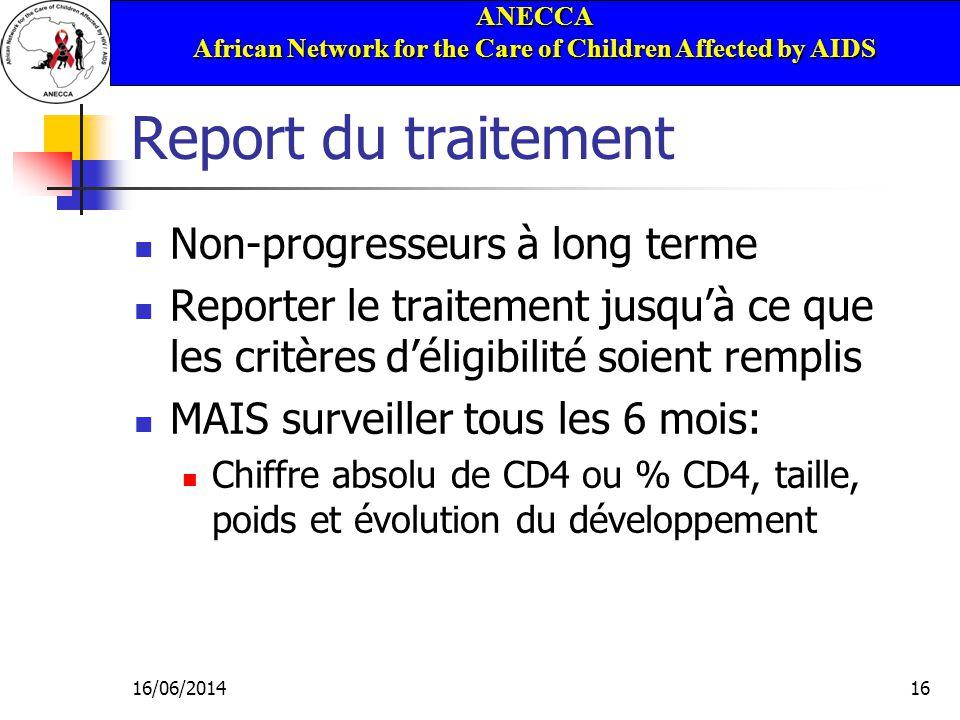 ANECCA African Network for the Care of Children Affected by AIDS 16/06/201416 Report du traitement Non-progresseurs à long terme Reporter le traitemen