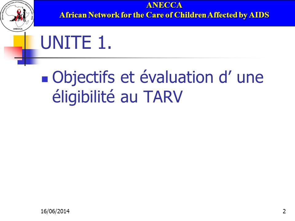 ANECCA African Network for the Care of Children Affected by AIDS 16/06/201453 Evaluation de base pour le TAR Evaluation pré-thérapeutique Classification clinique de la maladie Bilan biologique Structures de soutien familial et social