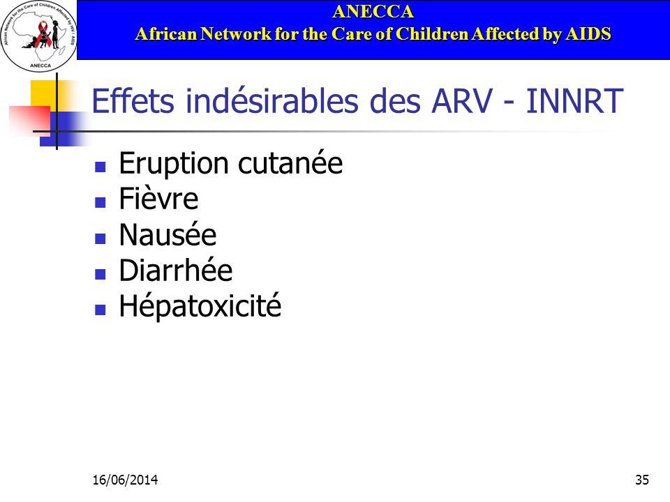 ANECCA African Network for the Care of Children Affected by AIDS 16/06/201435 Effets indésirables des ARV - INNRT Eruption cutanée Fièvre Nausée Diarrhée Hépatoxicité