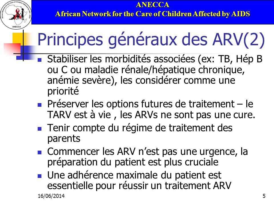 ANECCA African Network for the Care of Children Affected by AIDS 16/06/201446 Régimes alternatifs Régime à base de 3 INRT : - AZT/d4T + 3TC + ABC Utiliser 3 NRTI uniquement si la combinaison de 2 classes médicamenteuses nest pas possible (ex: association dun traitement anti TB chez un enfant <3 ans) Peu recommandé car efficacité peu durable Quand il est disponible, le FTC peut être utilisé à la place du 3TC En cas datcd de prophylaxie à la NVP, on peut discuter: 3TC + AZT ou D4T + Lopinavir/ Ritonavir (LPV/r) 3TC + AZT ou D4T +Nelfinavir (NFV)