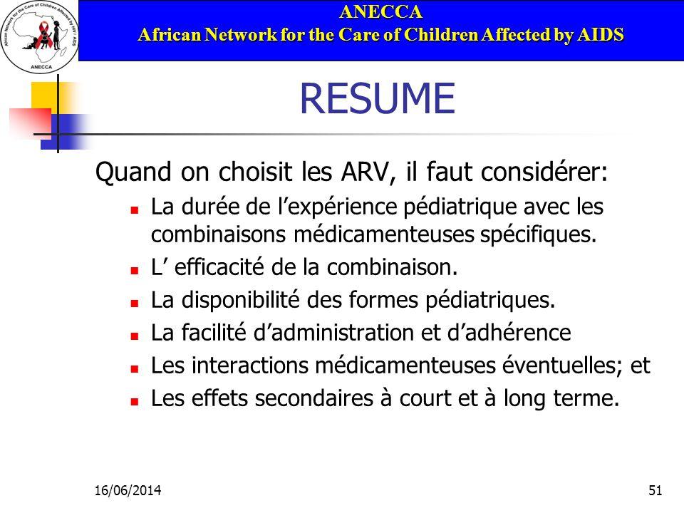 ANECCA African Network for the Care of Children Affected by AIDS 16/06/201451 RESUME Quand on choisit les ARV, il faut considérer: La durée de lexpérience pédiatrique avec les combinaisons médicamenteuses spécifiques.