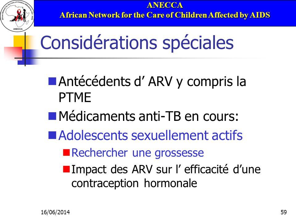 ANECCA African Network for the Care of Children Affected by AIDS 16/06/201459 Considérations spéciales Antécédents d ARV y compris la PTME Médicaments