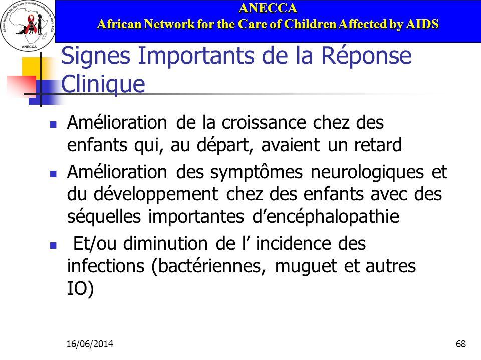 ANECCA African Network for the Care of Children Affected by AIDS 16/06/201468 Signes Importants de la Réponse Clinique Amélioration de la croissance c