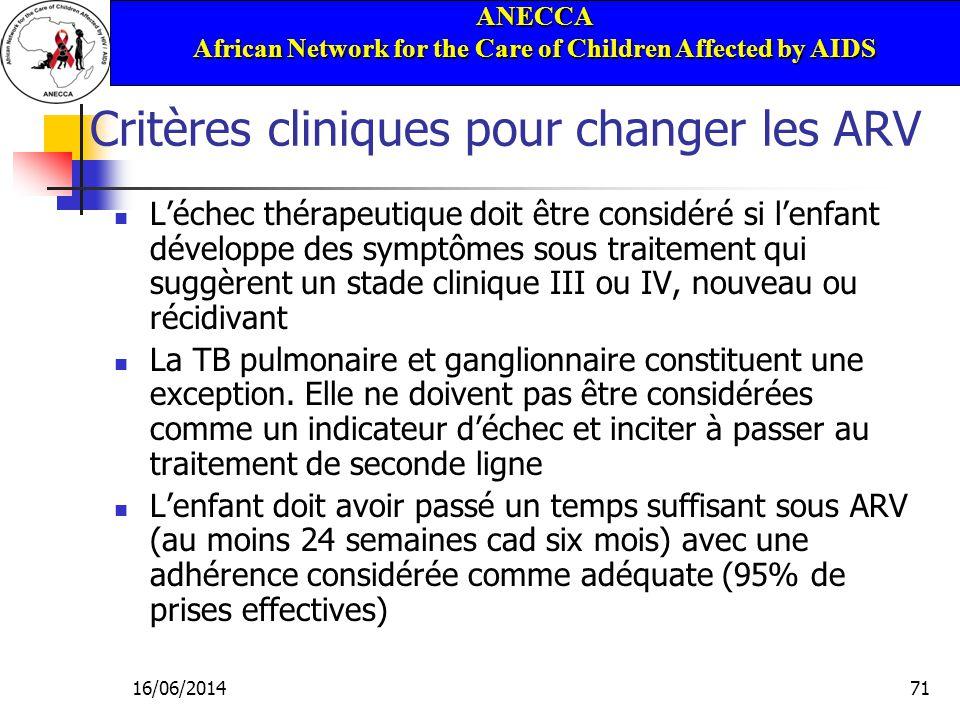 ANECCA African Network for the Care of Children Affected by AIDS 16/06/201471 Critères cliniques pour changer les ARV Léchec thérapeutique doit être considéré si lenfant développe des symptômes sous traitement qui suggèrent un stade clinique III ou IV, nouveau ou récidivant La TB pulmonaire et ganglionnaire constituent une exception.