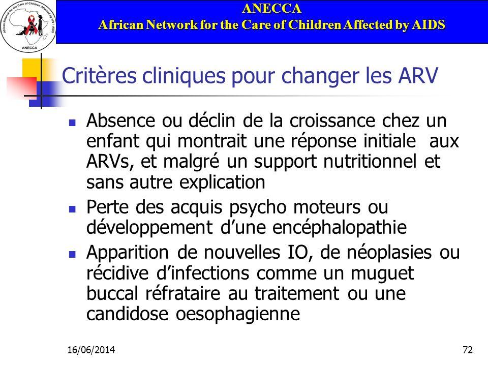ANECCA African Network for the Care of Children Affected by AIDS 16/06/201472 Critères cliniques pour changer les ARV Absence ou déclin de la croissan