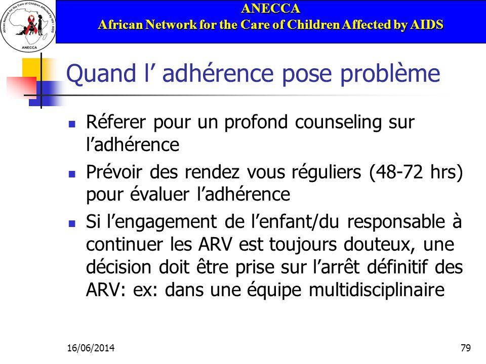 ANECCA African Network for the Care of Children Affected by AIDS 16/06/201479 Quand l adhérence pose problème Réferer pour un profond counseling sur l