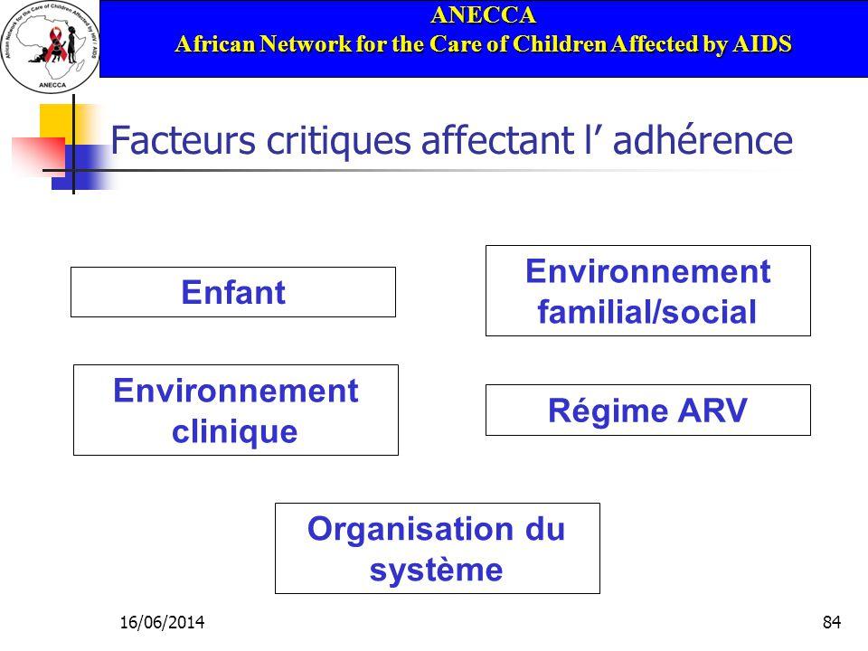 ANECCA African Network for the Care of Children Affected by AIDS 16/06/201484 Facteurs critiques affectant l adhérence Environnement familial/social Enfant Organisation du système Régime ARV Environnement clinique