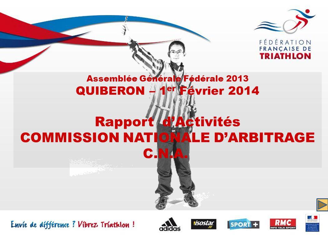 Assemblée Générale Fédérale 2013 QUIBERON – 1 er Février 2014 Rapport dActivités COMMISSION NATIONALE DARBITRAGE C.N.A.