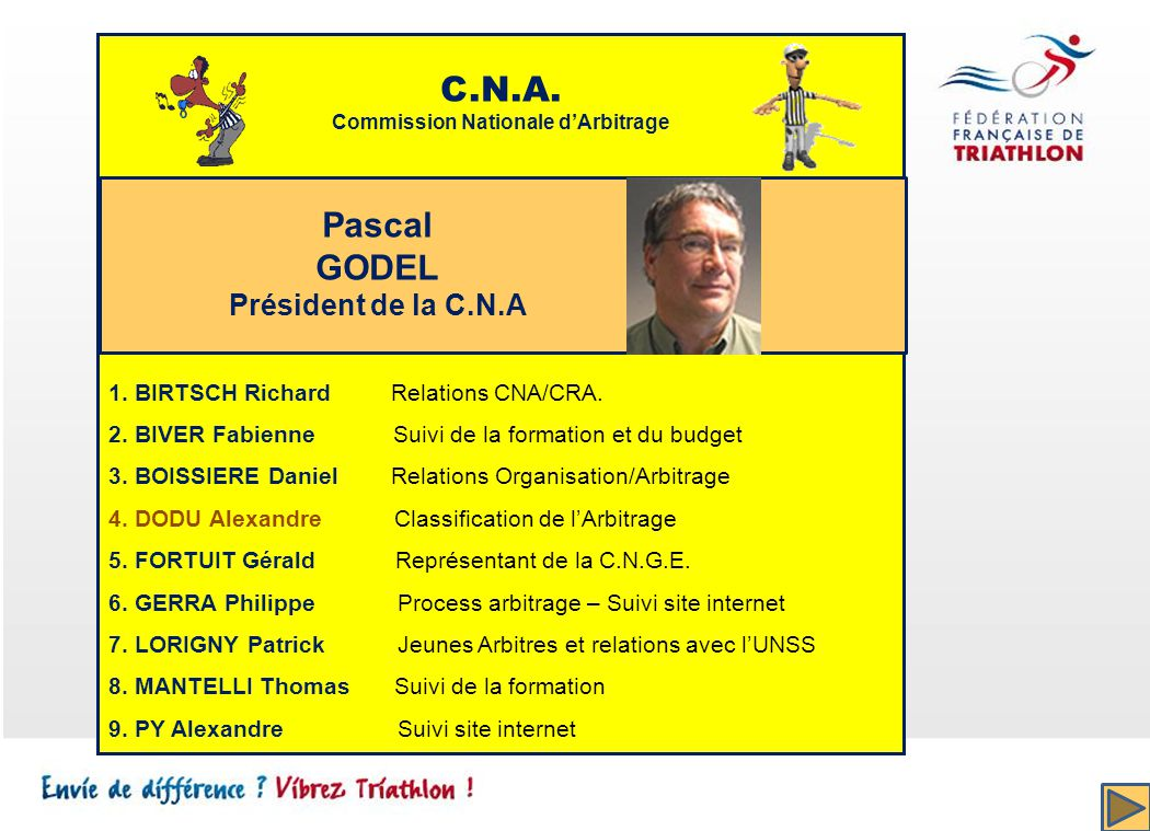C.N.A. Commission Nationale dArbitrage 1.BIRTSCH Richard Relations CNA/CRA.