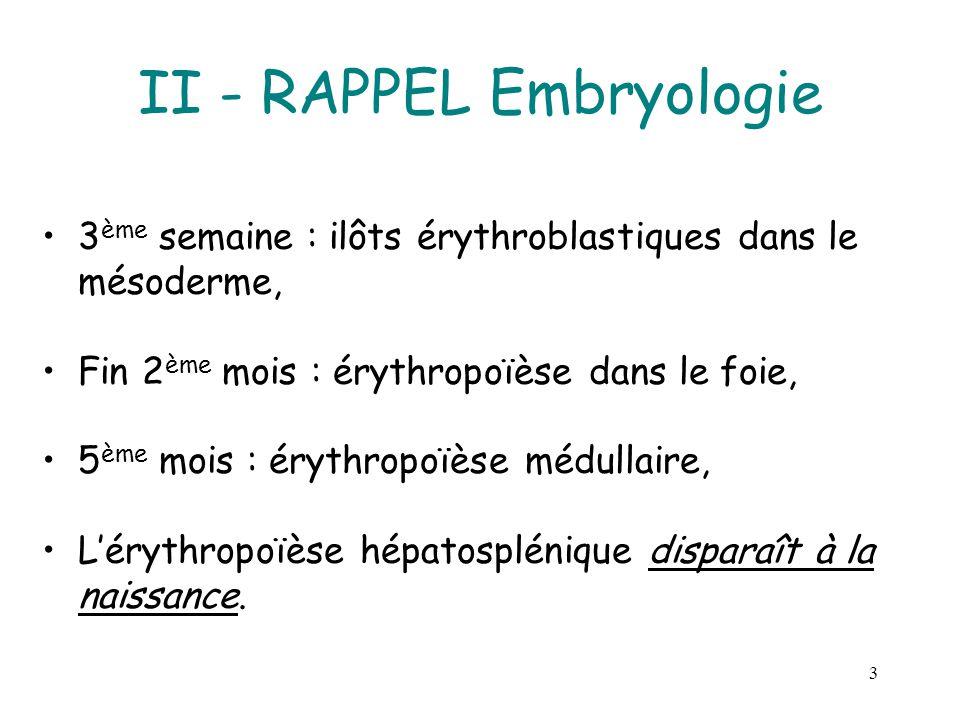3 II - RAPPEL Embryologie 3 ème semaine : ilôts érythroblastiques dans le mésoderme, Fin 2 ème mois : érythropoïèse dans le foie, 5 ème mois : érythro