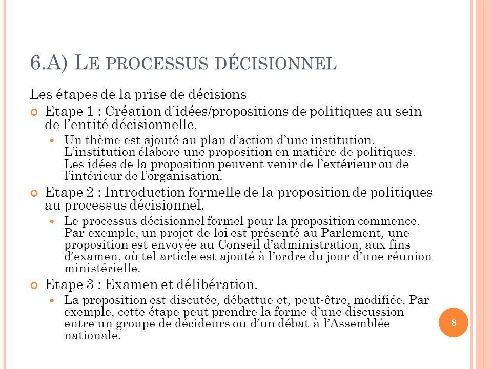 6.A) L E PROCESSUS DÉCISIONNEL Les étapes de la prise de décisions Etape 1 : Création didées/propositions de politiques au sein de lentité décisionnelle.