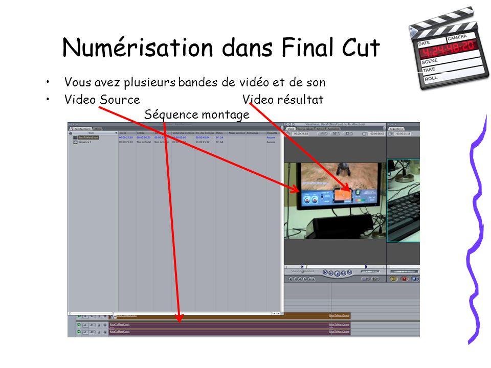 Numérisation dans Final Cut Vous avez plusieurs bandes de vidéo et de son Video SourceVideo résultat Séquence montage