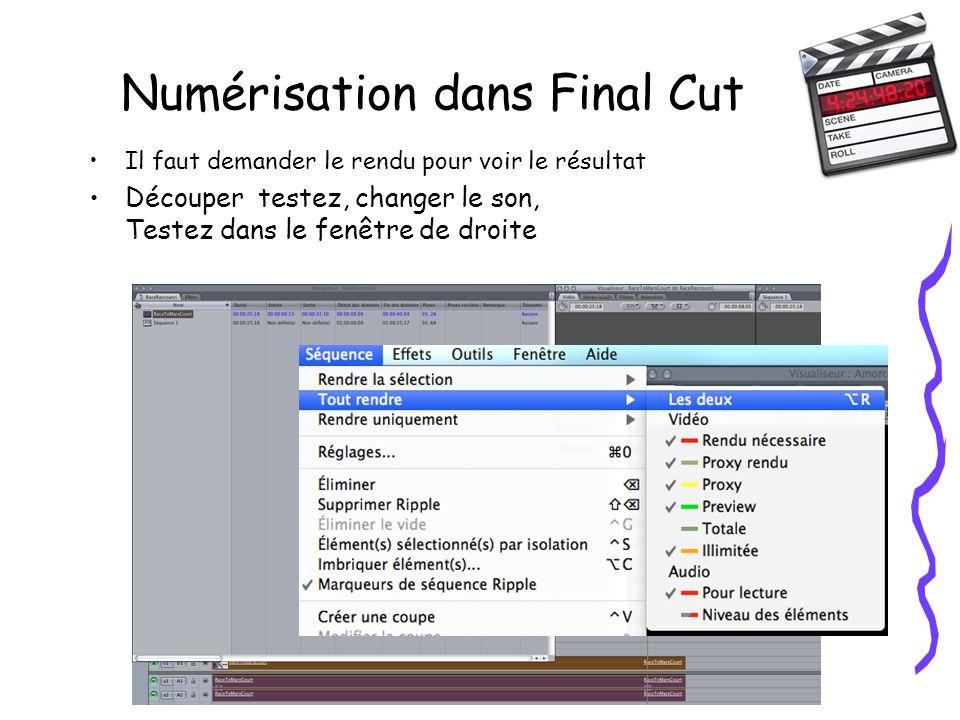 Numérisation dans Final Cut Il faut demander le rendu pour voir le résultat Découper testez, changer le son, Testez dans le fenêtre de droite