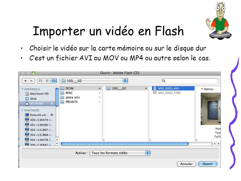 Importer un vidéo en Flash Choisir le vidéo sur la carte mémoire ou sur le disque dur Cest un fichier AVI ou MOV ou MP4 ou autre selon le cas.