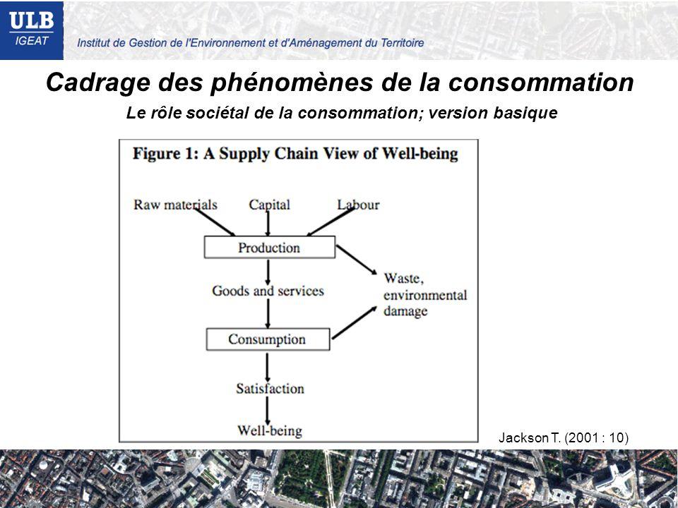 Cadrage des phénomènes de la consommation Jackson T. (2001 : 10) Le rôle sociétal de la consommation; version basique