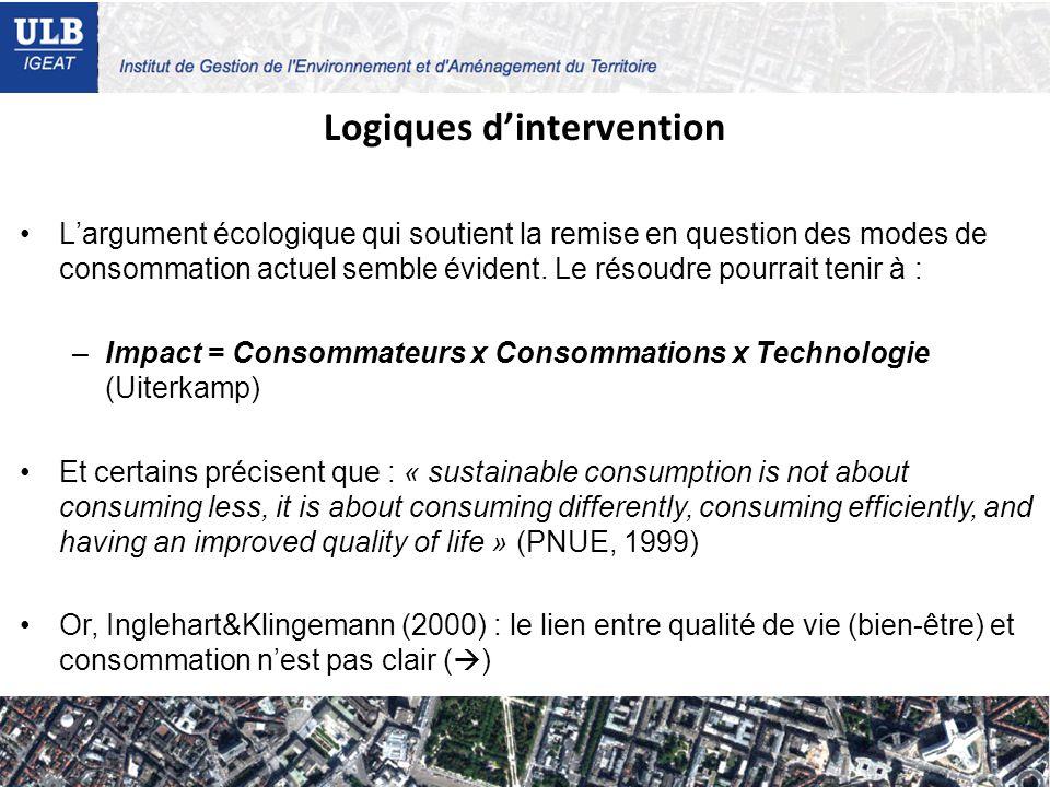 Logiques dintervention Largument écologique qui soutient la remise en question des modes de consommation actuel semble évident.