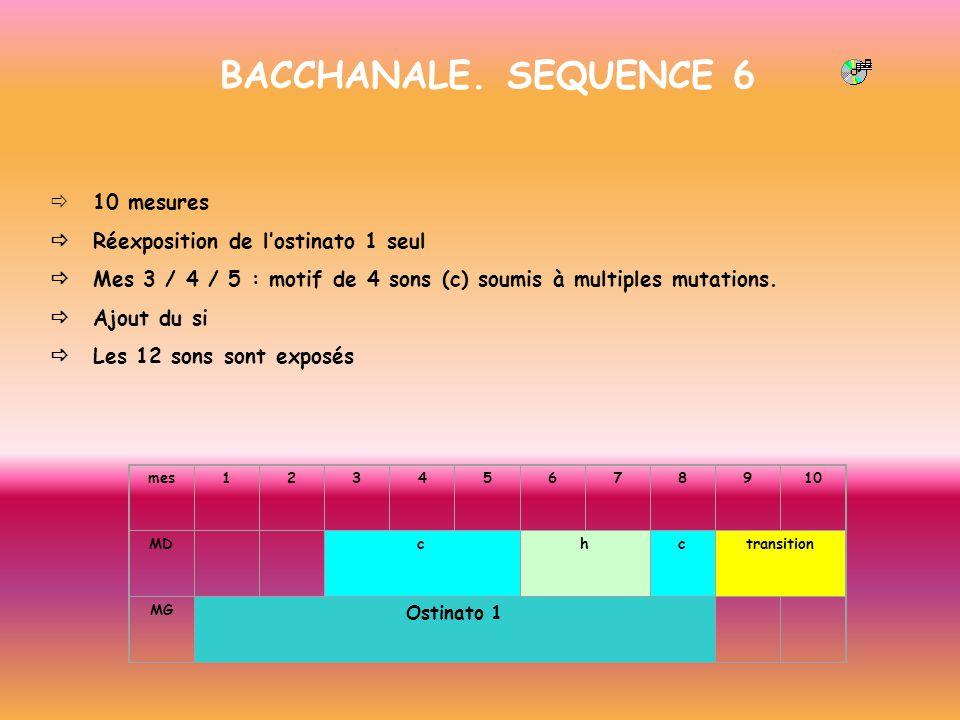 BACCHANALE. SEQUENCE 6 10 mesures Réexposition de lostinato 1 seul Mes 3 / 4 / 5 : motif de 4 sons (c) soumis à multiples mutations. Ajout du si Les 1