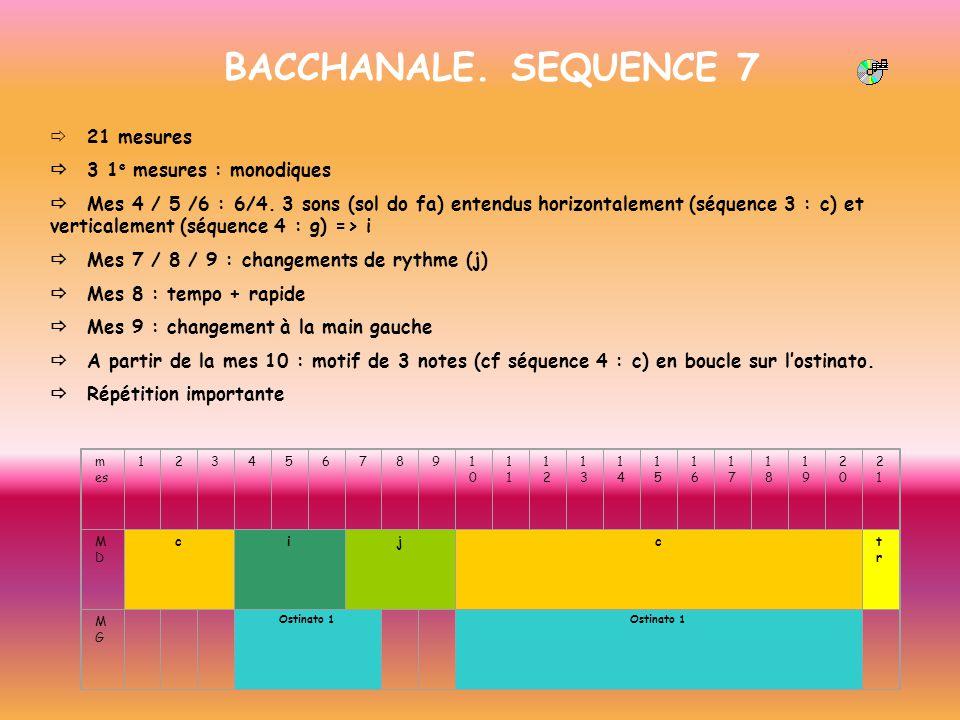 BACCHANALE. SEQUENCE 7 21 mesures 3 1 e mesures : monodiques Mes 4 / 5 /6 : 6/4. 3 sons (sol do fa) entendus horizontalement (séquence 3 : c) et verti