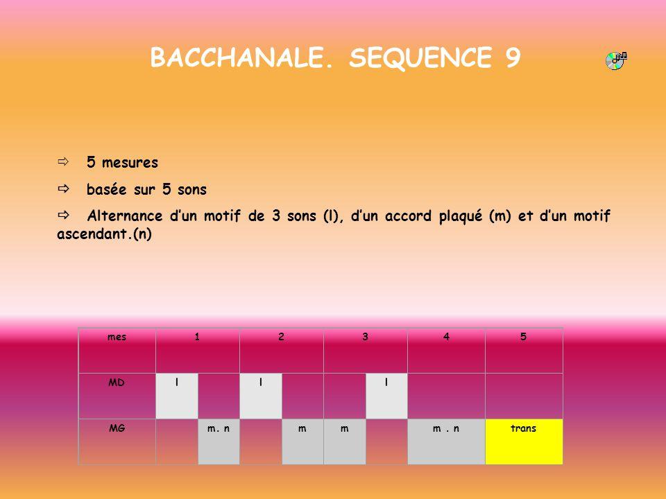 BACCHANALE. SEQUENCE 9 5 mesures basée sur 5 sons Alternance dun motif de 3 sons (l), dun accord plaqué (m) et dun motif ascendant.(n) mes12345 MDl l