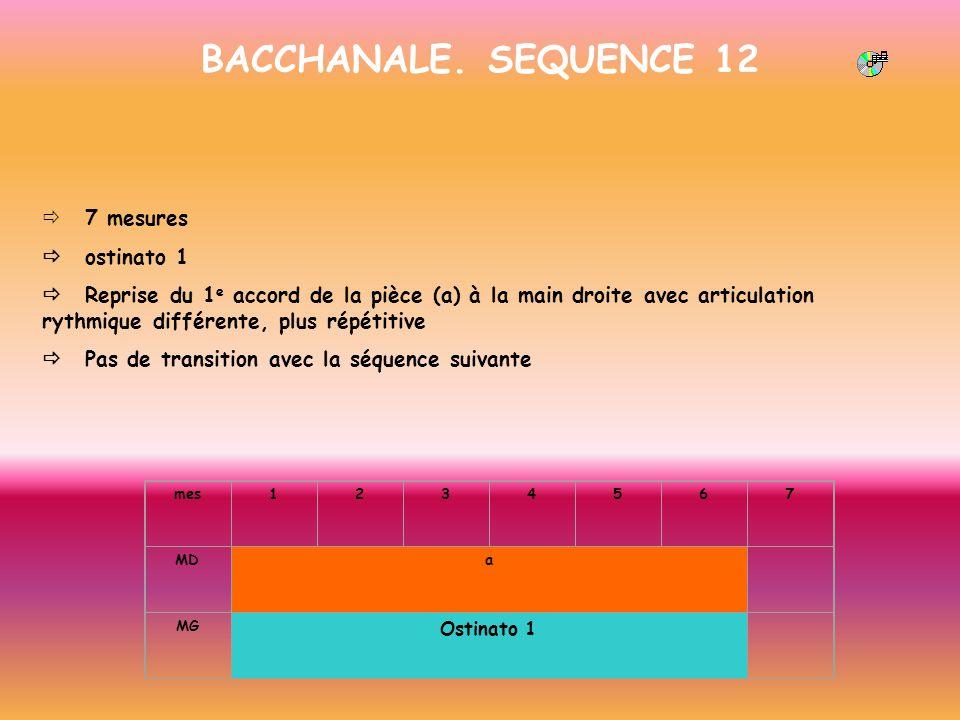 BACCHANALE. SEQUENCE 12 7 mesures ostinato 1 Reprise du 1 e accord de la pièce (a) à la main droite avec articulation rythmique différente, plus répét