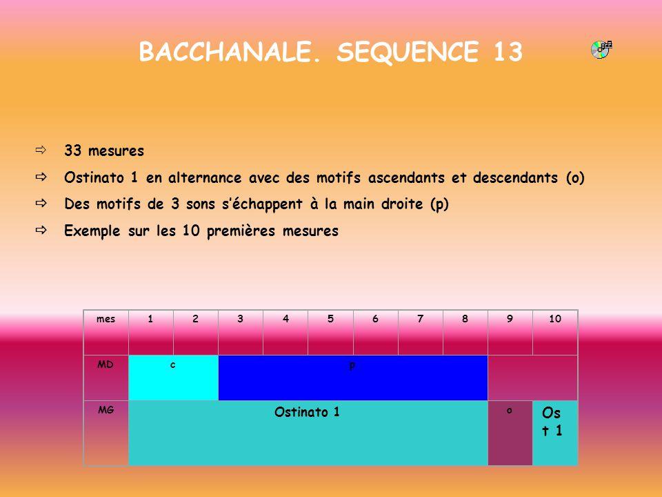 BACCHANALE. SEQUENCE 13 33 mesures Ostinato 1 en alternance avec des motifs ascendants et descendants (o) Des motifs de 3 sons séchappent à la main dr