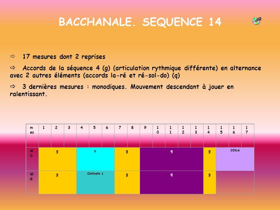 BACCHANALE. SEQUENCE 14 17 mesures dont 2 reprises Accords de la séquence 4 (g) (articulation rythmique différente) en alternance avec 2 autres élémen