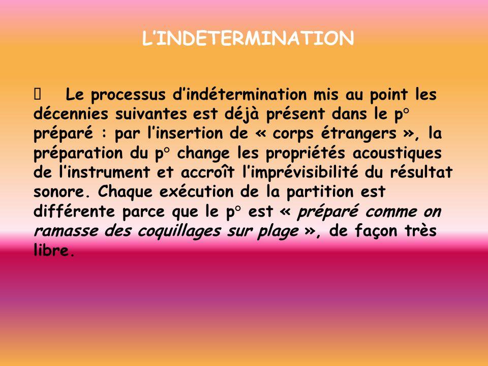 LINDETERMINATION Le processus dindétermination mis au point les décennies suivantes est déjà présent dans le p° préparé : par linsertion de « corps ét