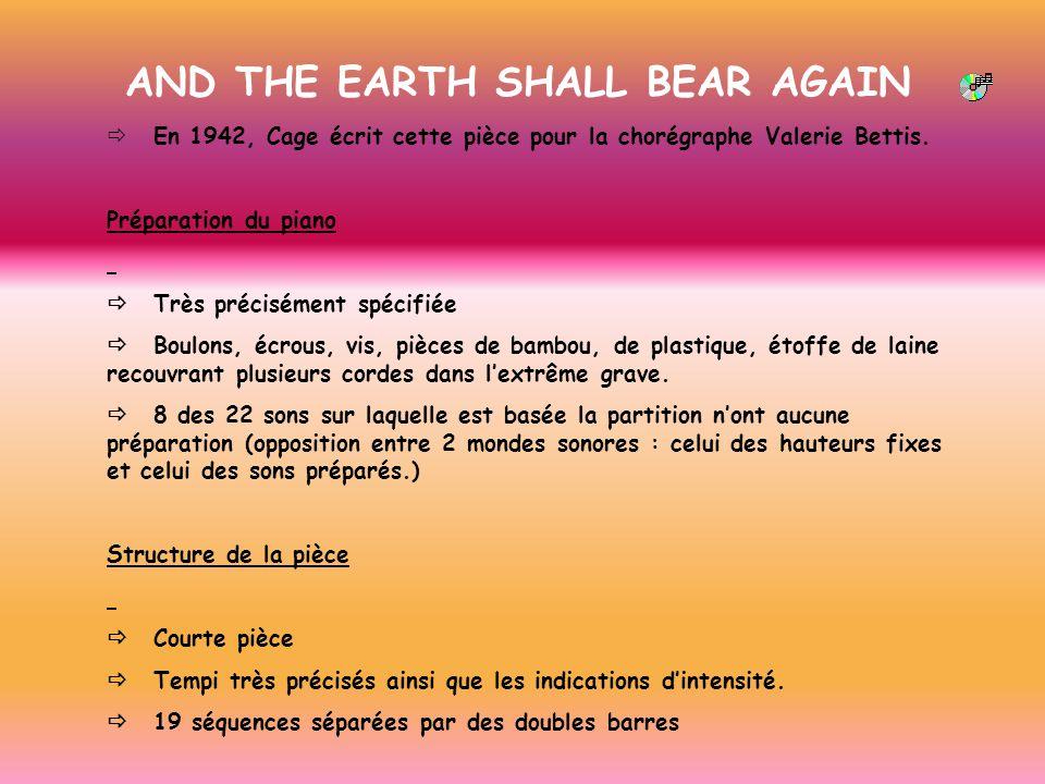 AND THE EARTH SHALL BEAR AGAIN En 1942, Cage écrit cette pièce pour la chorégraphe Valerie Bettis. Préparation du piano Très précisément spécifiée Bou
