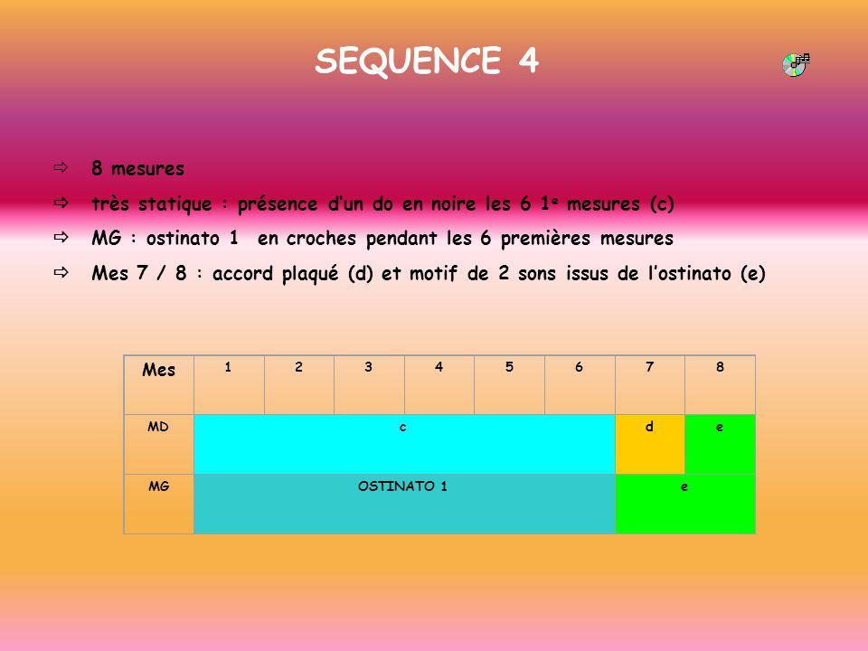SEQUENCE 4 8 mesures très statique : présence dun do en noire les 6 1 e mesures (c) MG : ostinato 1 en croches pendant les 6 premières mesures Mes 7 /