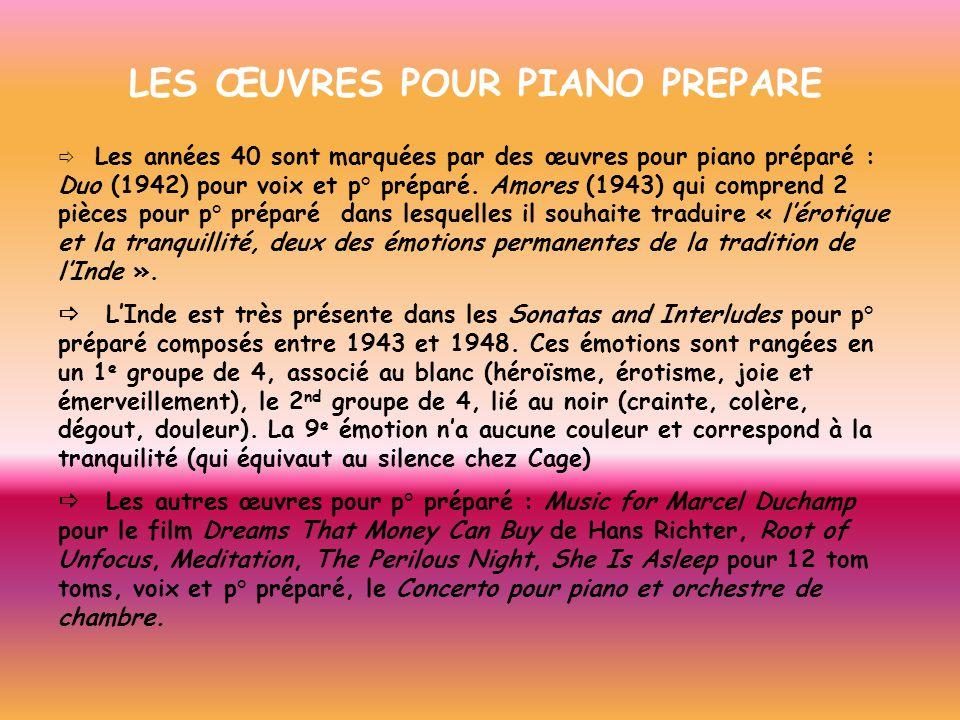 LES ŒUVRES POUR PIANO PREPARE Les années 40 sont marquées par des œuvres pour piano préparé : Duo (1942) pour voix et p° préparé. Amores (1943) qui co
