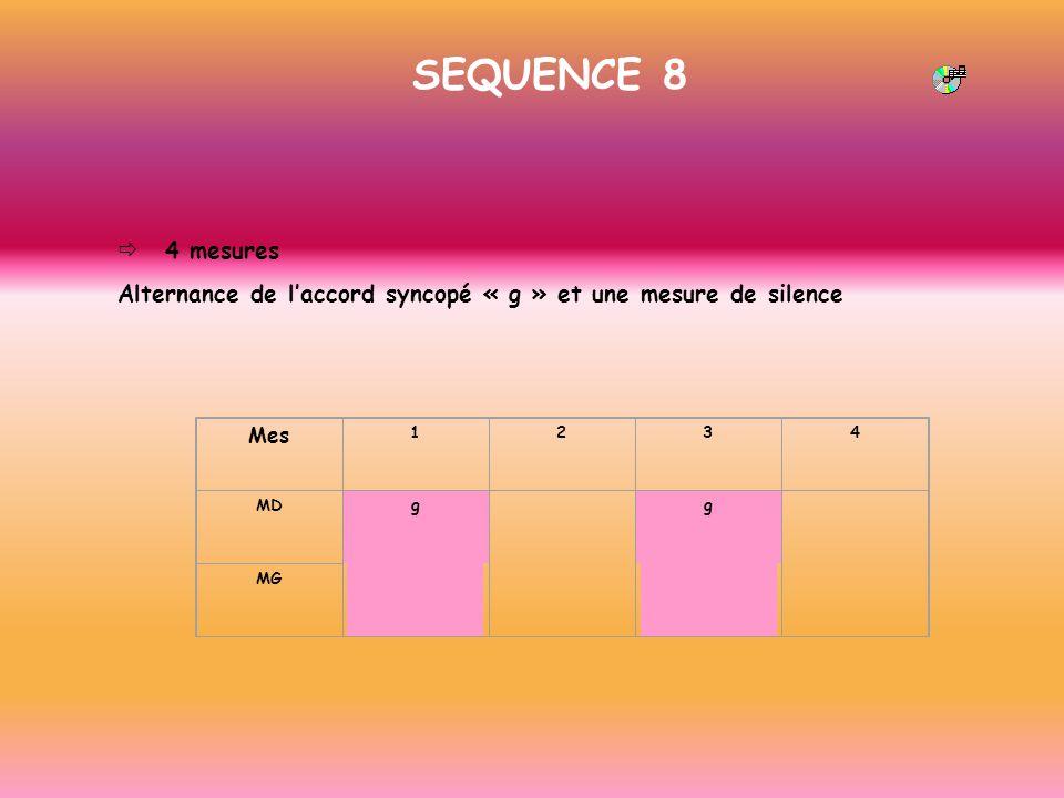 SEQUENCE 8 4 mesures Alternance de laccord syncopé « g » et une mesure de silence Mes 1234 MDg g MG