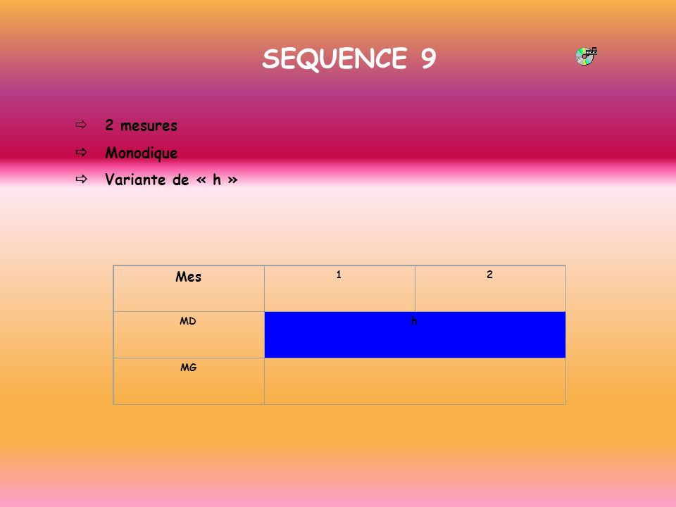 SEQUENCE 9 2 mesures Monodique Variante de « h » Mes 12 MDh MG