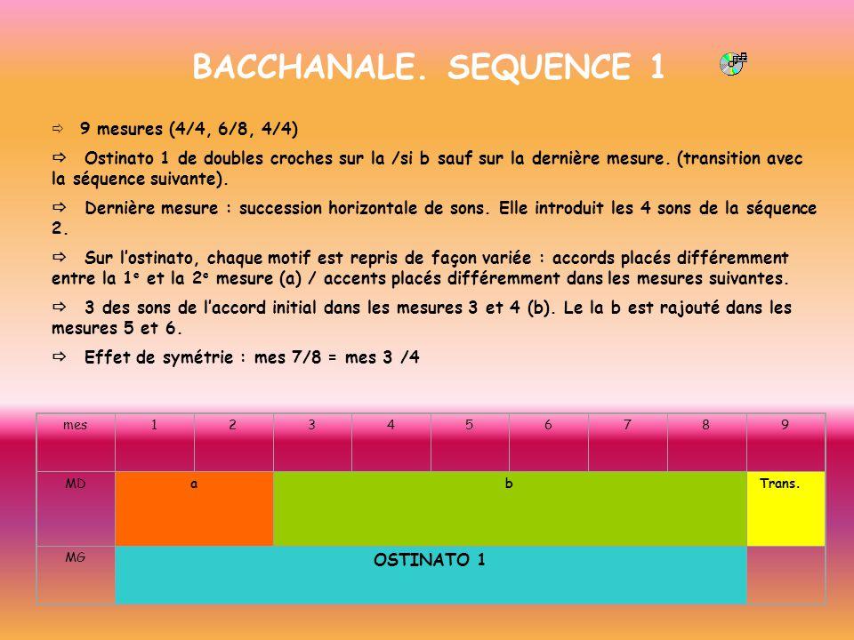BACCHANALE. SEQUENCE 1 9 mesures (4/4, 6/8, 4/4) Ostinato 1 de doubles croches sur la /si b sauf sur la dernière mesure. (transition avec la séquence