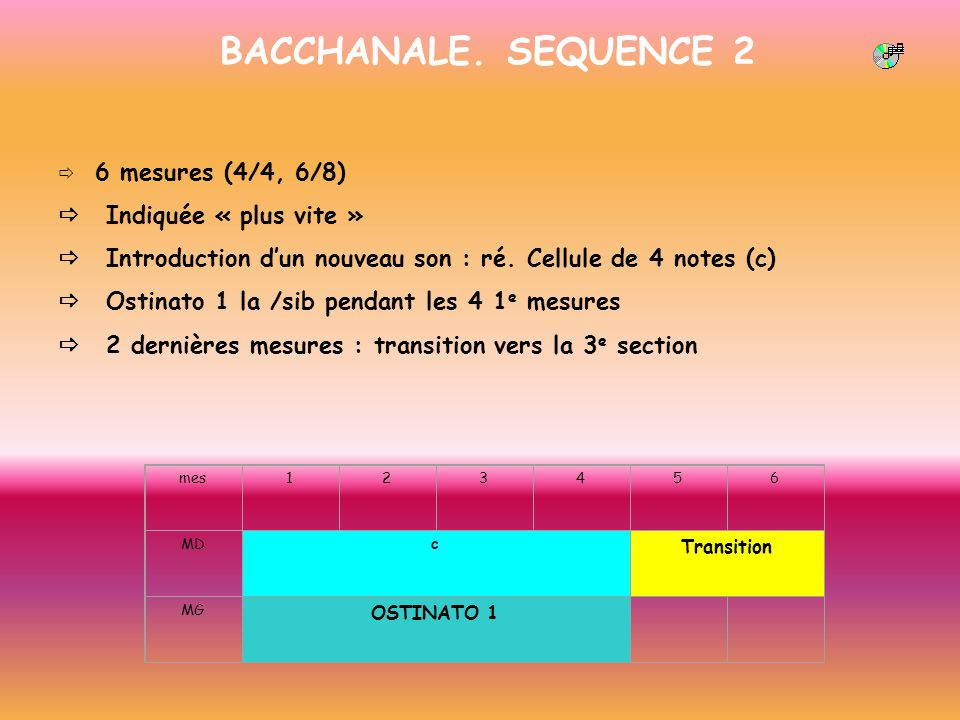 BACCHANALE. SEQUENCE 2 6 mesures (4/4, 6/8) Indiquée « plus vite » Introduction dun nouveau son : ré. Cellule de 4 notes (c) Ostinato 1 la /sib pendan