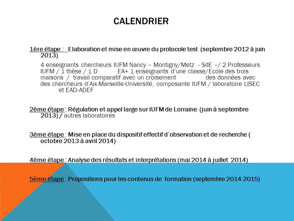CALENDRIER 1ère étape : Elaboration et mise en œuvre du protocole test (septembre 2012 à juin 2013) 4 enseignants chercheurs IUFM Nancy – Montigny/Met