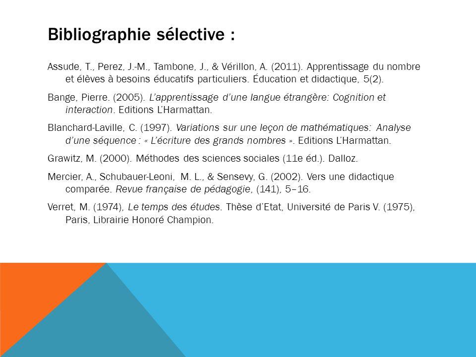 Bibliographie sélective : Assude, T., Perez, J.-M., Tambone, J., & Vérillon, A. (2011). Apprentissage du nombre et élèves à besoins éducatifs particul