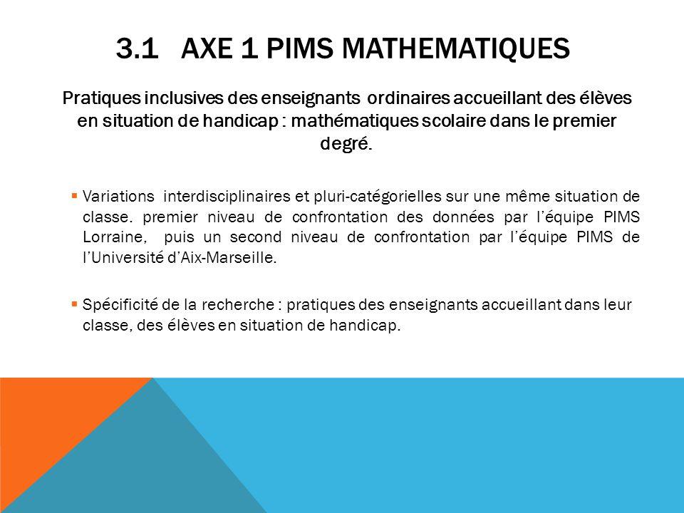 3.1 AXE 1 PIMS MATHEMATIQUES Pratiques inclusives des enseignants ordinaires accueillant des élèves en situation de handicap : mathématiques scolaire