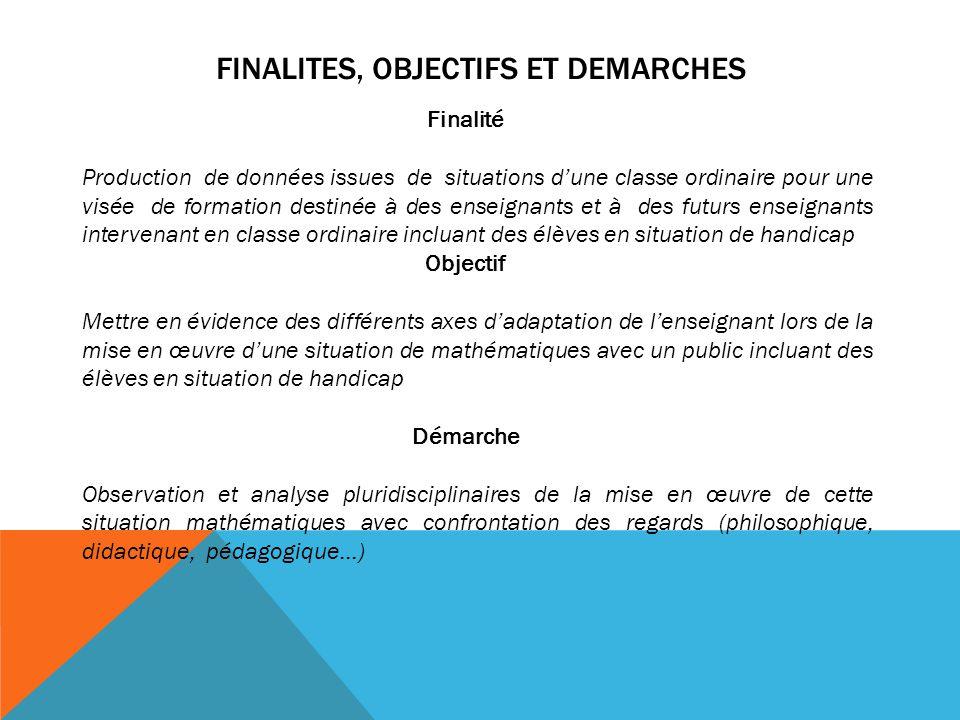 FINALITES, OBJECTIFS ET DEMARCHES Finalité Production de données issues de situations dune classe ordinaire pour une visée de formation destinée à des