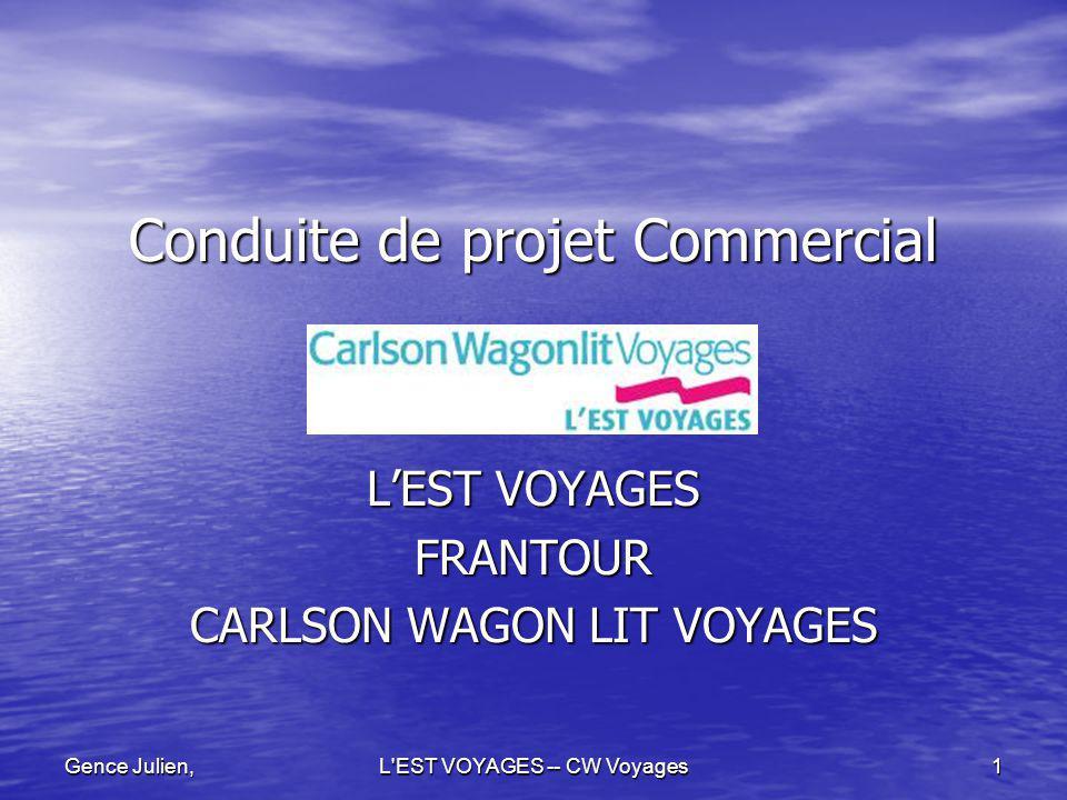 L'EST VOYAGES -- CW Voyages 1 Gence Julien, Conduite de projet Commercial LEST VOYAGES FRANTOUR CARLSON WAGON LIT VOYAGES