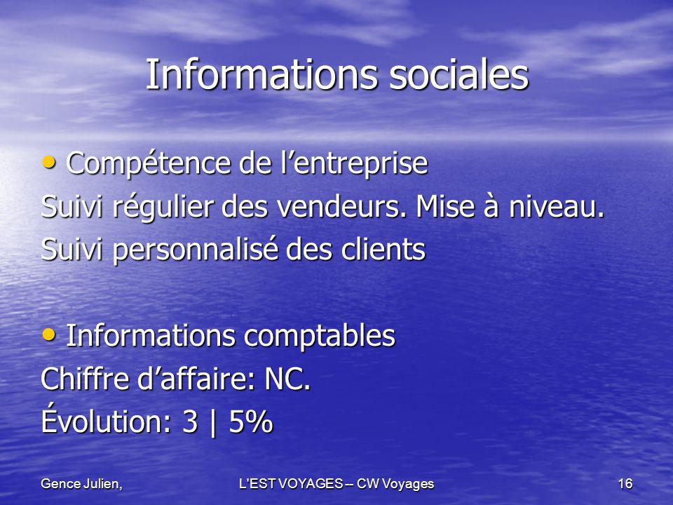 Gence Julien,L'EST VOYAGES -- CW Voyages16 Informations sociales Compétence de lentreprise Compétence de lentreprise Suivi régulier des vendeurs. Mise