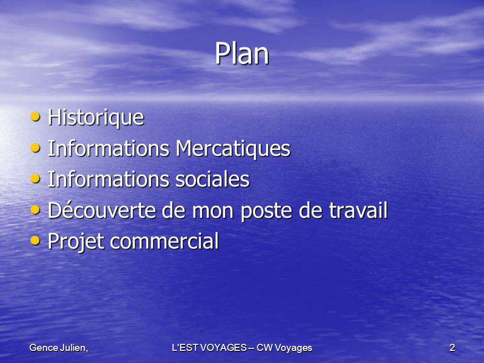 Gence Julien,L EST VOYAGES -- CW Voyages13 Informations Mercatiques Tourisme Tourisme Présent sur différents secteurs.