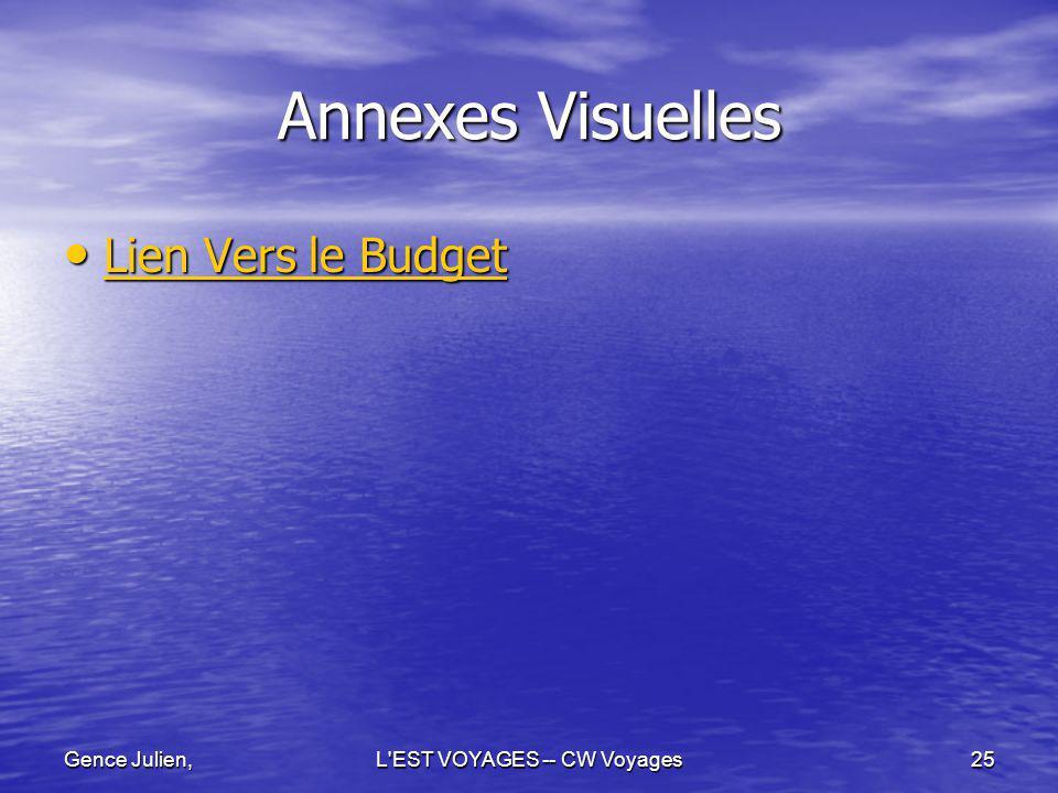 Gence Julien,L'EST VOYAGES -- CW Voyages25 Annexes Visuelles Lien Vers le Budget Lien Vers le Budget Lien Vers le Budget Lien Vers le Budget