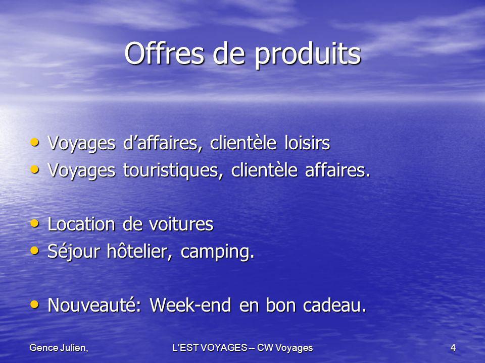 Gence Julien,L EST VOYAGES -- CW Voyages5 Implantation Géographique