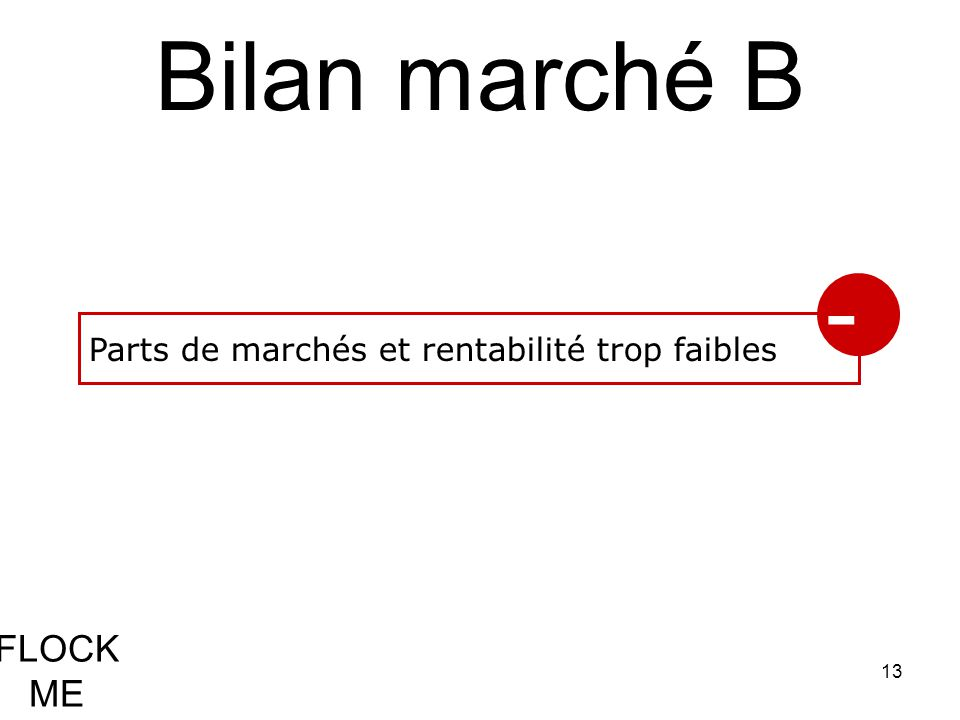 13 FLOCK ME Bilan marché B Parts de marchés et rentabilité trop faibles -